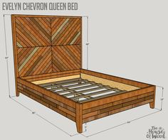 How to build a DIY West Elm-inspired chevron reclaimed wood queen bed bedroom diy How to build a DIY Reclaimed Wood Chevron West Elm Alexa Bed Furniture Plans, Bedroom Furniture, Diy Furniture, Bedroom Bed, Furniture Vintage, Furniture Stores, Industrial Furniture, Vintage Industrial, Master Bedroom