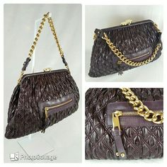 REDUCED!!! Marc Jacobs Quilted Shoulder Bag Exquisite Marc Jacobs Stam Bag made in beautiful patent plum leather with goldtone hardware, chain-link shoulder strap, zippered pocket on the outside, taupe woven interior lining, single zip pocket at interior wall and a kiss-lock closure at top.  It is BRAND NEW with tags! It was photographed for an event, so, the price tag is cut off.  Comes with tags, authenticity card, controle card and care booklet. MADE IN ITALY. Statement piece, one of MJ…