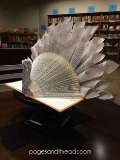 How to make a recycled book turkey for a library display or Thanksgiving centerpiece. This is a dead link but I used the wayback machine online to find the website and tutorial. Old Book Crafts, Book Page Crafts, Folded Book Art, Book Folding, Thanksgiving Centerpieces, Thanksgiving Crafts, Book Turkey, Turkey Art, Cadeau Parents