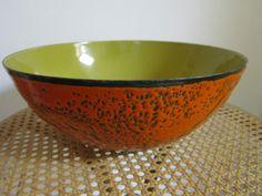 Vintage Mid Century Modern Hanova of Pasadena Volcanic Enamel Orange Black Bowl | eBay