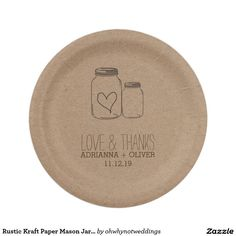 Rustic Kraft Paper Mason Jars Heart Wedding