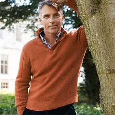 Burnt orange weekend essentials zip-neck jumper | Men's knitwear from Charles Tyrwhitt, Jermyn Street, London £69