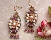 Freshwater pearl statement earrings Beadwork dangle earrings Oval ivory pale pink white frosted lavander earring Victorian summer earrings