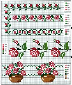 Handicrafts: Roses for embroidery cross stitch / Cross stitch roses Cross Stitch Boarders, Cross Stitch Rose, Cross Stitch Flowers, Cross Stitch Designs, Cross Stitch Charts, Cross Stitching, Cross Stitch Patterns, Blackwork Embroidery, Cross Stitch Embroidery