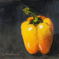 "Still LIfe Original Acrylic Painting 6"" x 6"" Vegetable Contemporary Impressionism Fine Art"