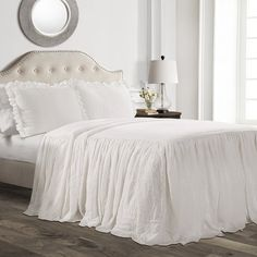 Add a feminine flair to your bedroom with the lovely Lush Decor Ruffle Bedspread Set. Accented with a beautiful ruffled detail in an array of fashionable colors, the lavish bedding instantly brings a shabby chic vibe to any room's decor. Blanc Shabby Chic, Estilo Shabby Chic, Ruffle Bedspread, Ruffle Skirt, Dust Ruffle, Lace Curtains, Bed Sets, Bungalow, Shabby Chic Farmhouse