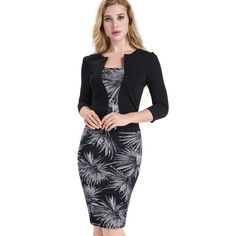 06d4ae0aaa Nice-forever One-piece Faux Jacket Brief Elegant Patterns Work dress Office  Bodycon Female 3 4 Or Full Sleeve Sheath Dress b237
