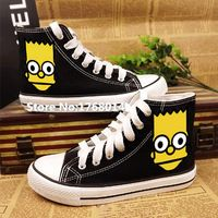The Simpsons High-top cartoon pure hand painted black canvas shoes http://it.aliexpress.com/store/product/High-top-cartoon-pure-hand-painted-black-canvas-shoes-The-Simpsons-men-women-students-graffiti-flats/1768014_32583032902.html