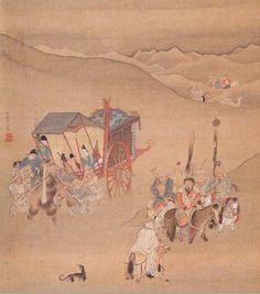明代 - 仇英 -《明妃出塞圖》               絹本設色。縱41公分  橫34公分。Qiu Ying (Chiu Yin), Ming Dynasty