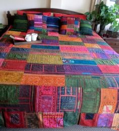 vintage hmong batik and embroidery patchwork cotton king quilt by christy1