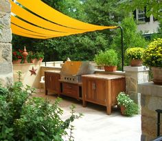 stretching fabric from deck to fence for party - Google Search