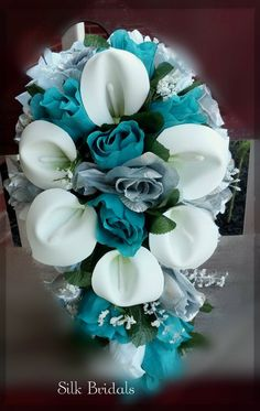 Bridal Bouquet Silk Wedding Flowers Teal/Jade Silver White CALLA Roses Bride. $54.00, via Etsy.