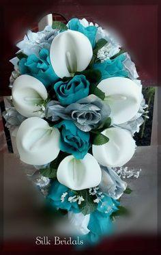 Bridal Bouquet Silk Wedding Flowers Teal/Jade Silver White CALLA Roses Bride. $54.00, via Etsy.