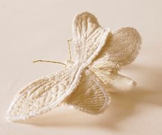 White Ghost Moth Soft Sculpture Brooch by BlueTerracotta