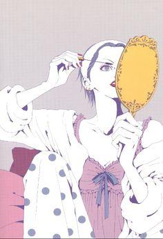 """Osaki holding vanity hand mirror & applying mascara from """"Nana"""" series by manga artist Ai Yazawa. Manga Nana, Manga Girl, Manga Anime, Anime Art, Hayao Miyazaki, Yazawa Ai, Ghibli, Nana Komatsu, Nana Osaki"""