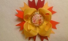 fall winnie the pooh   Winnie the Pooh Piglet Fall Leaves Hair Bow with Clip Disney Inspired
