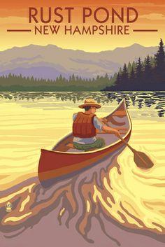 Rust Pond, New Hampshire - Canoe Scene - Lantern Press Poster