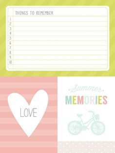 Planner & Journaling Printables  Summer themed journaling and filler cards. Free download!