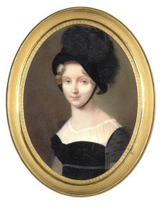 The Dowager Empress Elizaveta Alekseevna in black dress, black bonnet and feathers on paper stretched over enameled tin Henri Benner (French, 1776 - after Christie's Auction Miniature Portraits, Miniature Paintings, Mourning Dress, Regency Era, Old Paintings, Empire Style, Female Portrait, Poses, Silhouette