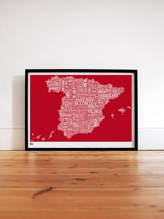 Bold & Noble Spain type map print in poppy red