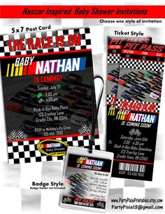 Nascar Inspired Baby Shower Party Package Decorations and Invitation - Printable and Customized with your personal party details. Digital Files. By PartyPixiePrintables