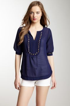 """Built in statement necklace  Angie Elbow Sleeve Studded Top in Blue  Split neck  - Elbow sleeves  - Stud trim detail  - Approx. 26"""" length      100% polyester"""