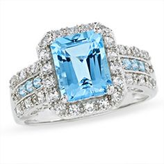 Mens Barrel Sapphire Ring | Blue Topaz and Lab-Created White Sapphire Ring in 14K White Gold with ...