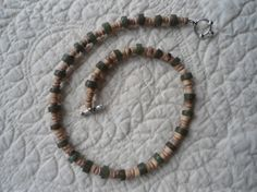 Green Glass Beads Light Brown Jasper Chips by LandofBridget, $6.00 also Showing Items on facebook @ The Land of Bridget