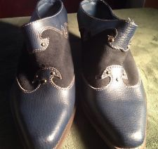 Cowboy Western Style Womens Shoes Clogs Boots Size 8 Navy Blue Suede