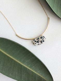 MIES necklace - dalmatian jasper pillow by morningritualjewelry on Etsy https://www.etsy.com/listing/206958441/mies-necklace-dalmatian-jasper-pillow