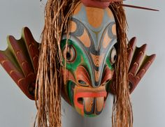 """Pugwis Man From the Sea"" red cedar mask by Nuu-chah-nulth artist Tom Patterson"