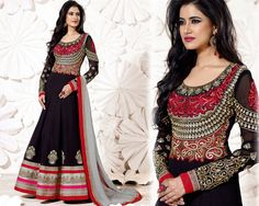 Black Full Length Anarkali Suit With Embroidered Bodice by IM