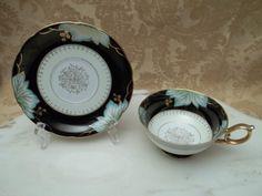 Vintage Shafford Handpainted Green Leaves On Black Teacup/Tea Cup & Saucer~ OOH have this one! Tea Cup Saucer, Green Leaves, Tea Pots, Hand Painted, Teacup, Tableware, Vintage, Black, Pretty