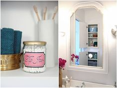 The cabinet to the right of the curtain holds a few extra goodies.  Extra toiletries and the new oh-so-sweet tip jar. 159Bathroom Makeover Week!  The REVEAL!