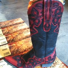 Old Gringo red and black Marrione cowgirl Boots at RiverTrail in North Carolina.