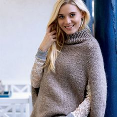 Poncho pattern by Sandnes Garn Knitted Cape, Knitted Shawls, Knit Picks, Poncho Sweater, Knit Or Crochet, Knitwear, Knitting Patterns, Knitting For Beginners, Pullover