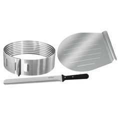 Frieling Zenker 3 Piece Layer Cake Slicing Kit Set & Reviews | Wayfair Stainless Steel Flatware, Stainless Steel Rings, Bakers Kitchen, Kitchen Dining, Patisserie Design, Naked Cakes, Piece Of Cakes, Cake Mold, Pastry Chef