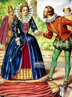 Famous Historical Scenes, Colour Illustration, pic: circa Queen Elizabeth I and Sir Walter Raleigh, with the gallant Raleigh laying his cloak across a puddle so the Queen would not get wet Get premium, high resolution news photos at Getty Images Walter Raleigh, Getting Wet, Cloak, Queen Elizabeth, Princess Zelda, Illustration, Recipes, Fictional Characters, Image