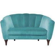 Scalloped blue velvet sofa - Art Deco decorating ideas - bedroom decorating ideas - allaboutyou.com