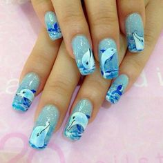 Dolphin nails are entered in the Ocean Category. Super Cute Nails, Pretty Nails, Love Nails, My Nails, Beach Nail Designs, Cute Nail Designs, Dolphin Nails, Nagel Hacks, Animal Nail Art