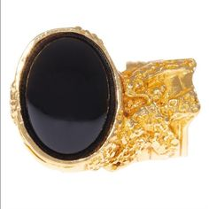 Black and Gold Fashion Ring Lovely fashion cocktail ring. Fits size 8 or 9. Similar to the arty ring.    REASONABLE OFFERS ONLY | NO TRADES YSL Jewelry Rings