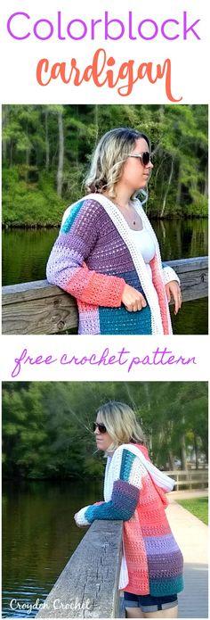 Crochet this free colorblock cardigan pattern using Lion Brand Mandala Yarn!