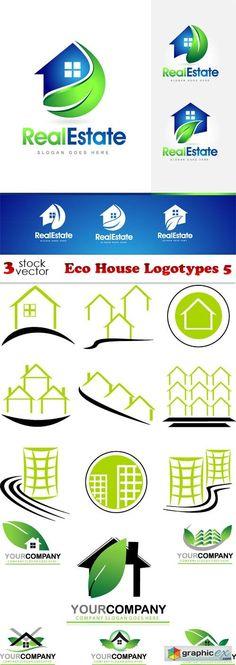 Eco House Logotypes 5  stock images