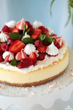 Perfect Classic Cheesecake with Strawberry Meringue Topping