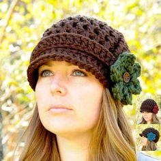 Crochet Newsboy Hat for Women Brimmed Beanie by SimplyMadeByErin