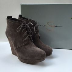 Jessica Simpson, Grey suede ankle boots w/ box. Super comfy, adorable wedge bootie heels!     4 inch heel. Great condition, only worn a 3-4 times!   Size is 7M - but please note that I usually wear a size 8. These boots run a little big. I have additional pics if interested. Jessica Simpson  Shoes Ankle Boots & Booties