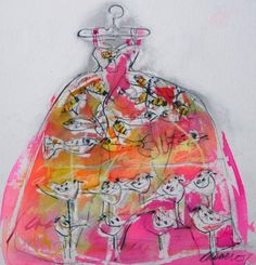 "Eva's Dress ii  by Christine Bowen  2006    11"" x 10""  sold•  mixed media on paper"