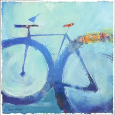 Bluebird 12x12 original mixed media painting on paper This series of bicycle paintings are inspired by the simple pleasure of pedaling a