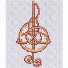 Music Cross Stitch Pattern - A little bit of music, a little bit of magic. The curving path of the treble clef twines seamlessly with a Celtic triple knot for a design that's so simple, but so very effective. This one is sure to put a song in your heart. This design measures 61 stitches wide by 118 stitches high. #Cross-stitchPatterns #GryphonsMoon