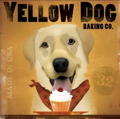 Yellow Dog Cupcake Company original illustration by geministudio, $80.00